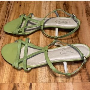 Talbots, sandals, green, ankle strap, size 6